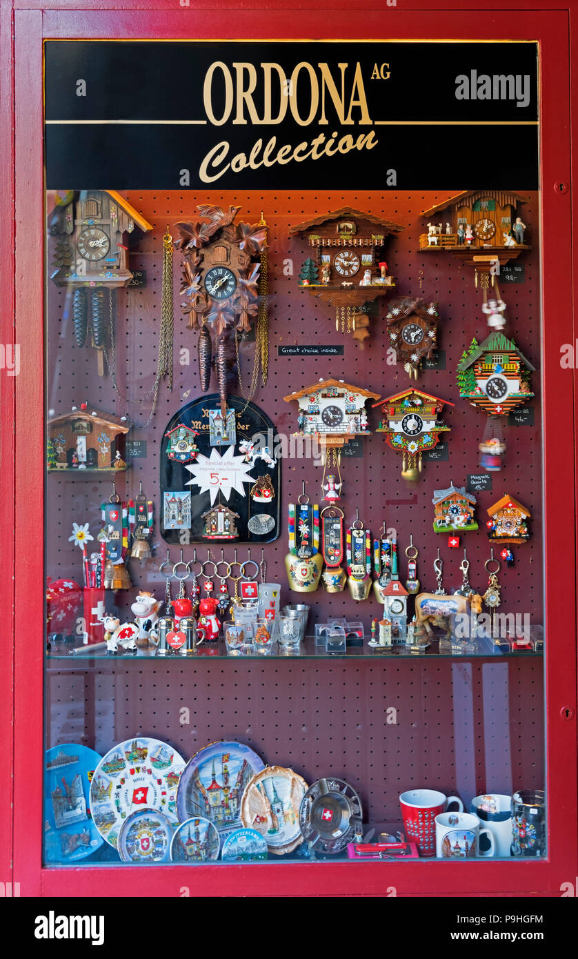 Souvenirs and cuckoo clocks Old Town Bern Switzerland - Stock Image