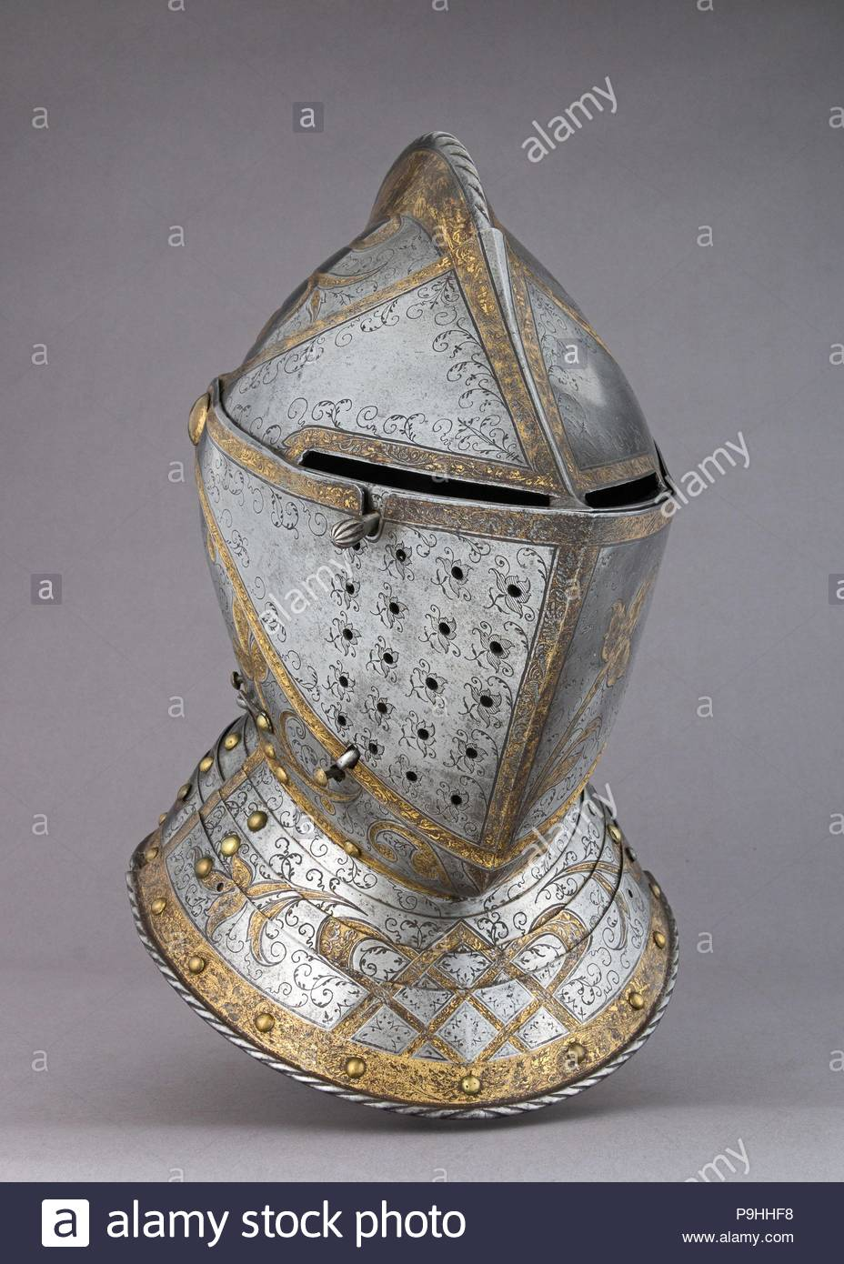 Close Helmet From A Garniture Made For Member Of The DAvalos Family Ca 1560 70 Augsburg German Steel Gold H 13 1 4 In