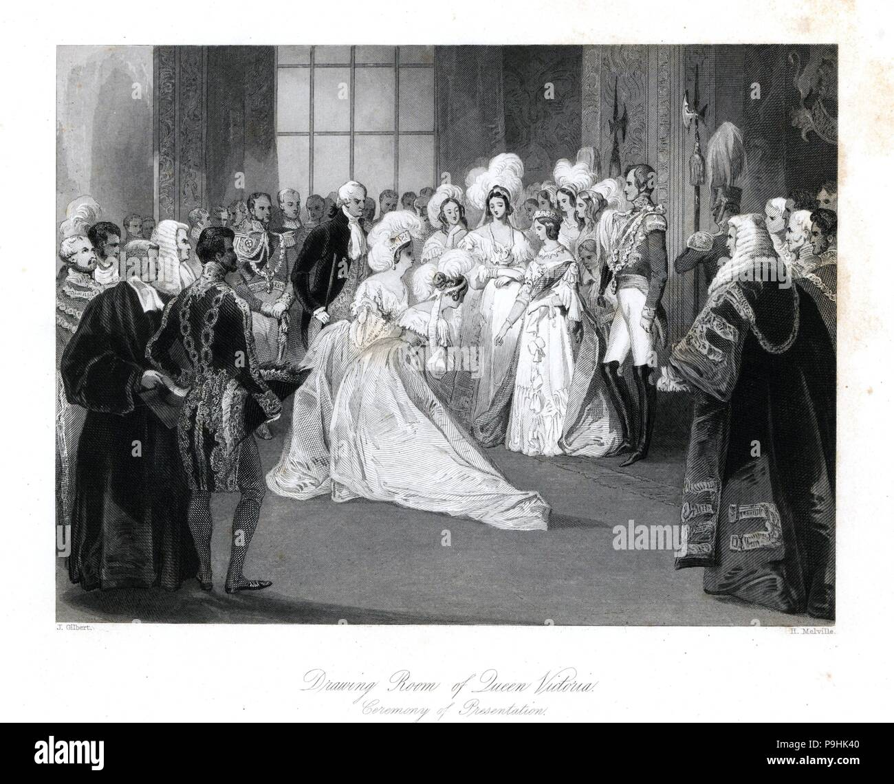 Ceremony of presentation to Queen Victoria in the Drawing Room at St. James' Palace. Steel engraving by Henry Melville after an illustration by J. Gilbert from London Interiors, Their Costumes and Ceremonies, Joshua Mead, London, 1841. - Stock Image