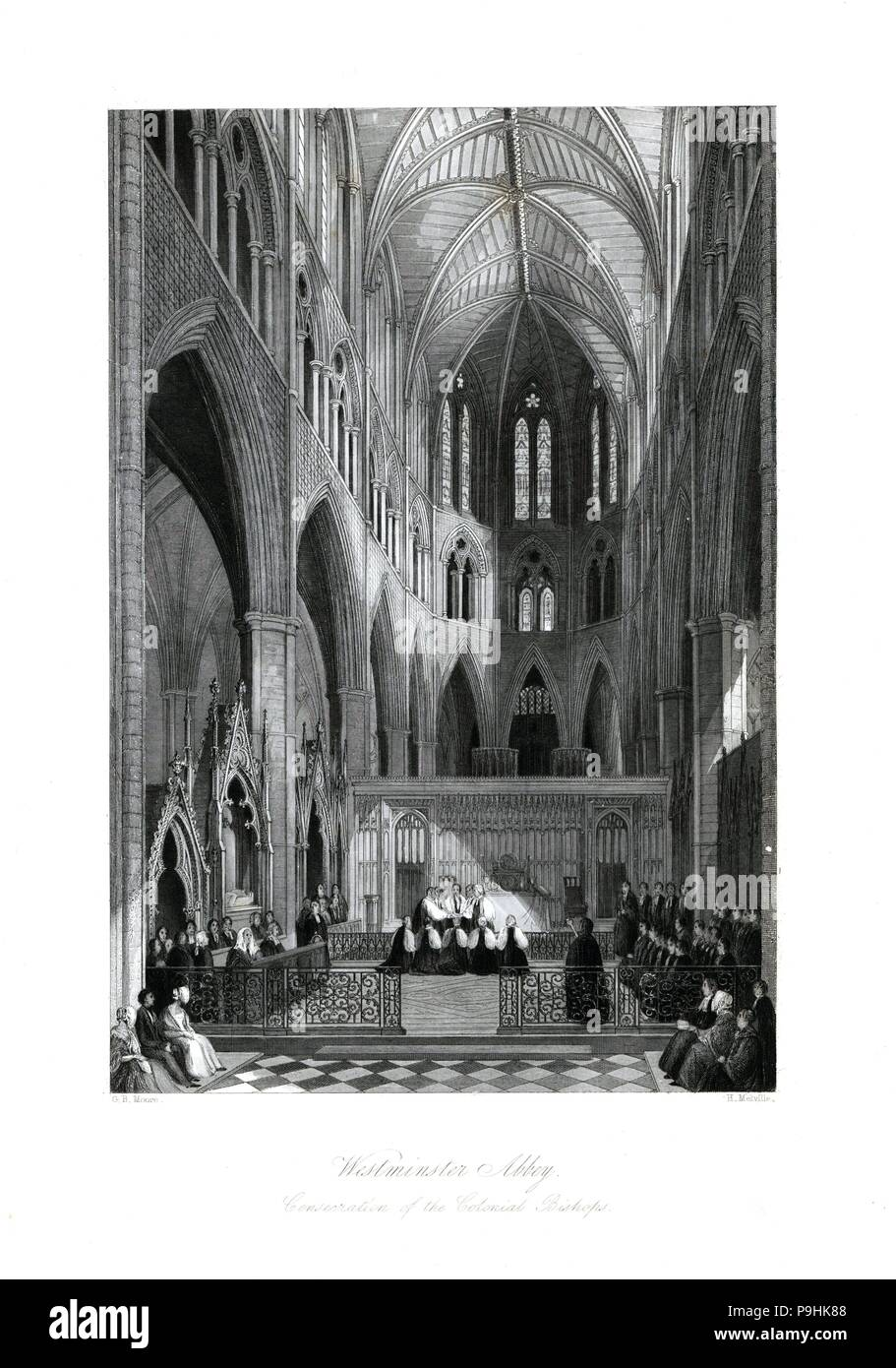 Consecration of the colonial bishops, Westminster Abbey. Steel engraving by Henry Melville after an illustration by G.B. Moore from London Interiors, Their Costumes and Ceremonies, Joshua Mead, London, 1841. - Stock Image