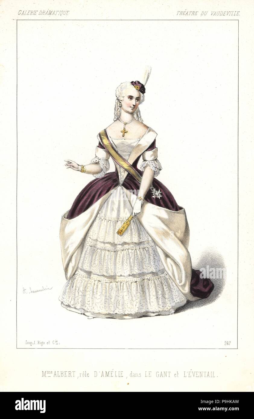 French soprano Madame Augustine Albert as Amelie in Le Gant et l'Eventail by Bayard and Sauvage, Theatre du Vaudeville, 1846. Handcoloured lithograph after an illustration by Alexandre Lacauchie from Victor Dollet's Galerie Dramatique: Costumes des Theatres de Paris, Paris, 1846. Stock Photo