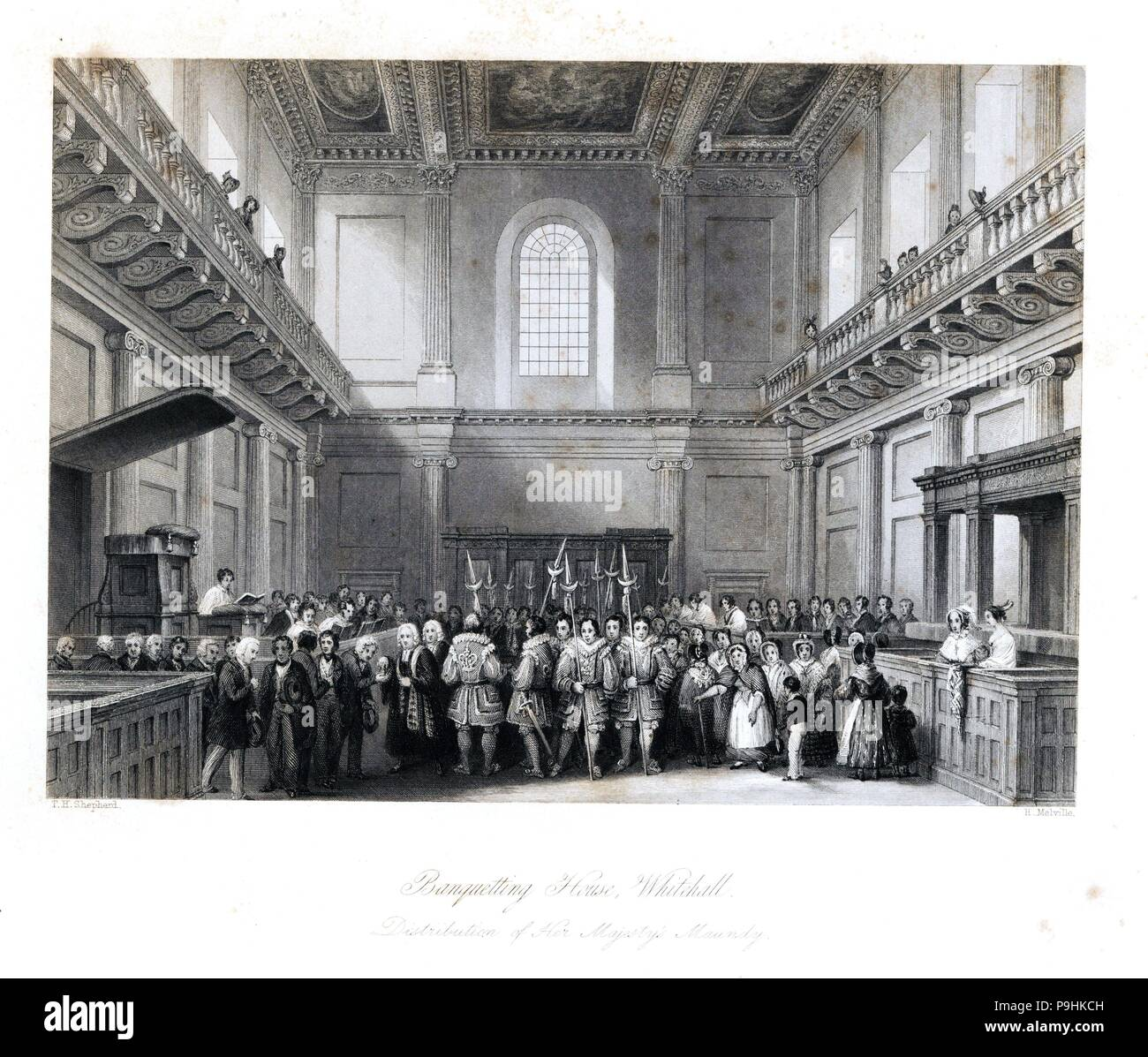 Distribution of Her Majesty's Maundy in the Banquetting House, Whitehall. Annual alms-giving ceremony by Beefeaters in Lent. Steel engraving by Henry Melville after an illustration by Thomas Hosmer Shepherd from London Interiors, Their Costumes and Ceremonies, Joshua Mead, London, 1841. - Stock Image