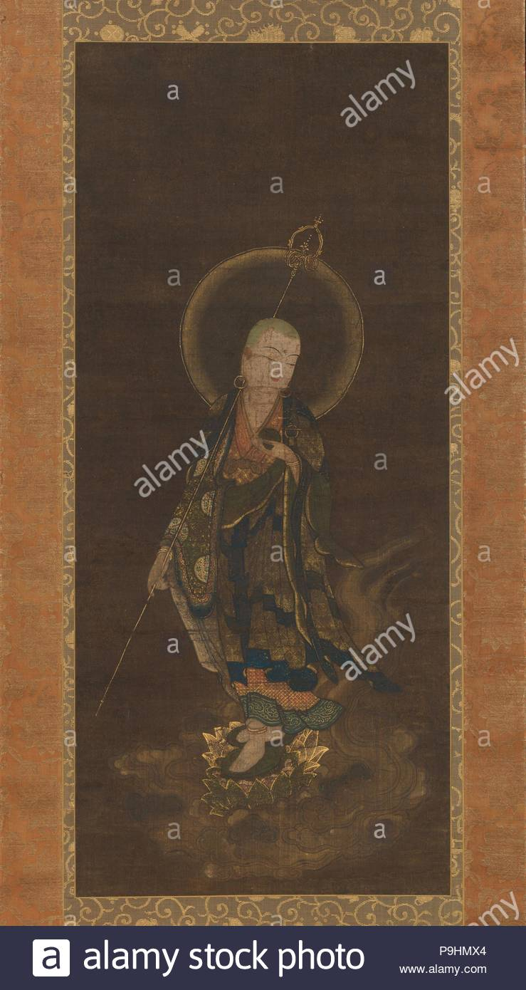 Mikaeri Jizo Bosatsu, ????????, Nanbokucho period (1336–92), 14th century, Japan, Hanging scroll; ink, color, and gold on silk, Image: 33 1/4 x 14 1/2 in. (84.5 x 36.8 cm), Paintings, Unidentified Artist, The merciful bodhisattva Jizo is shown leading a soul to paradise. Standing atop a cloud with his left foot forward and a golden staff held back over his shoulder, he turns to gaze with gentle vigilance. - Stock Image