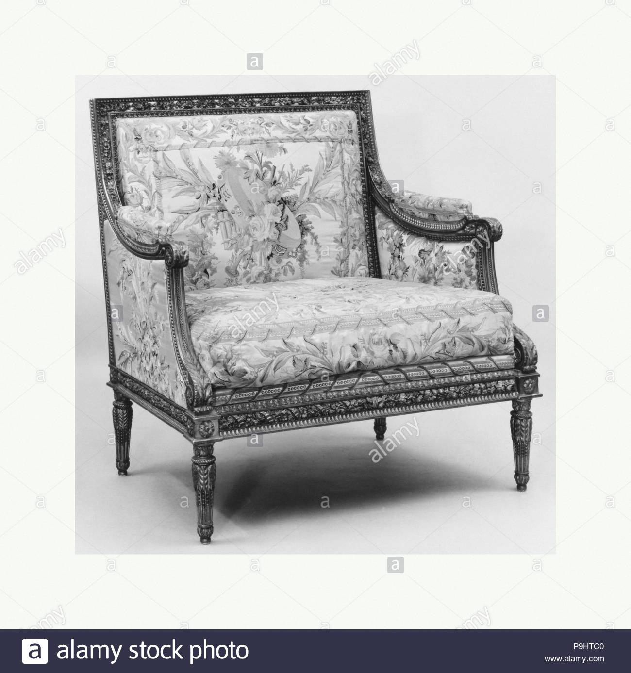 Small settee (part of a set), ca. 1785, French, Carved and gilded ...