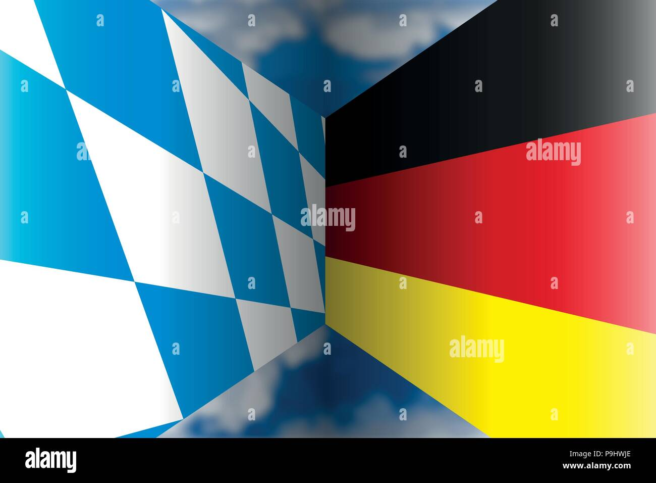Bayern VS Germany flags, illustration - Stock Vector