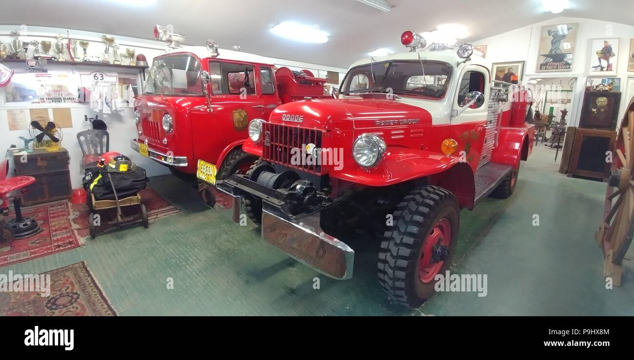 Old fire trucks in the fire brigade museum - Stock Image