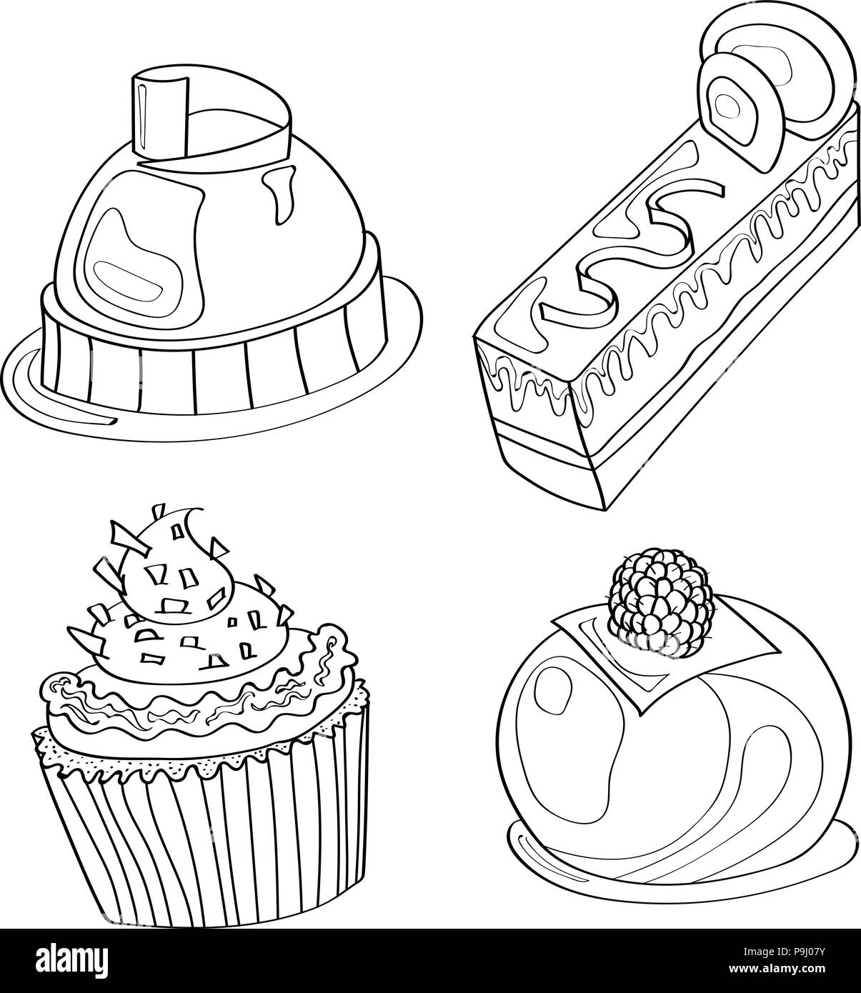 Coloring Book Coloring Page Cake Sweet Bakery Pattern Set