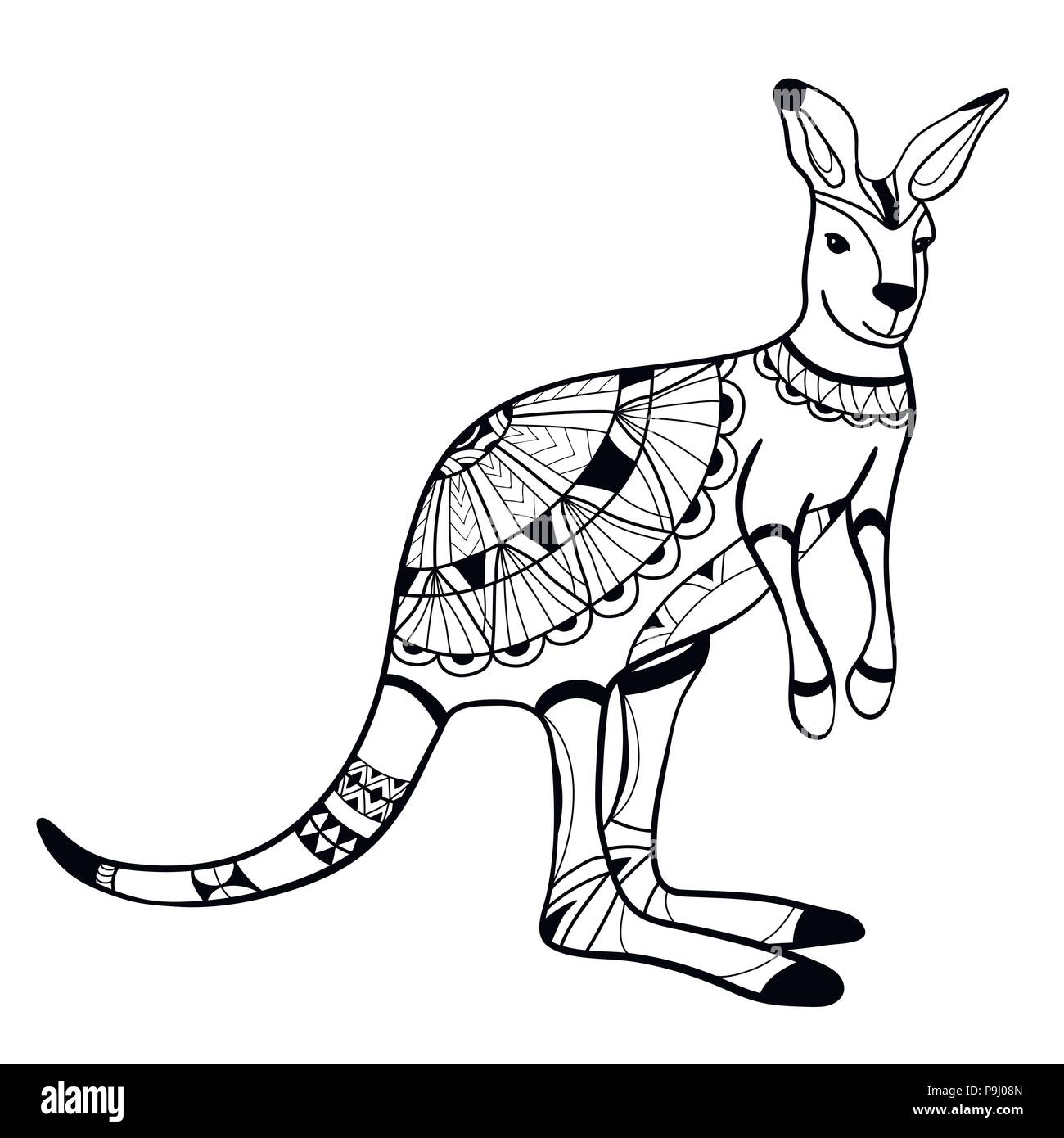 Coloring Book Coloring Page Animal Kangaroo Pattern Vector