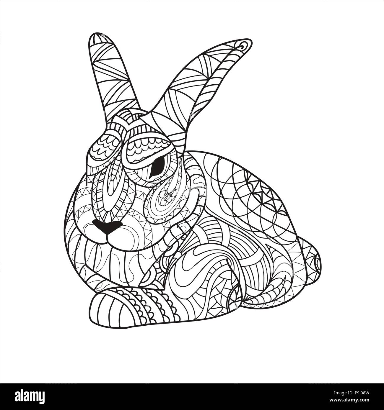 coloring coloring page bunny rabbit rodent pattern vector P9J08W