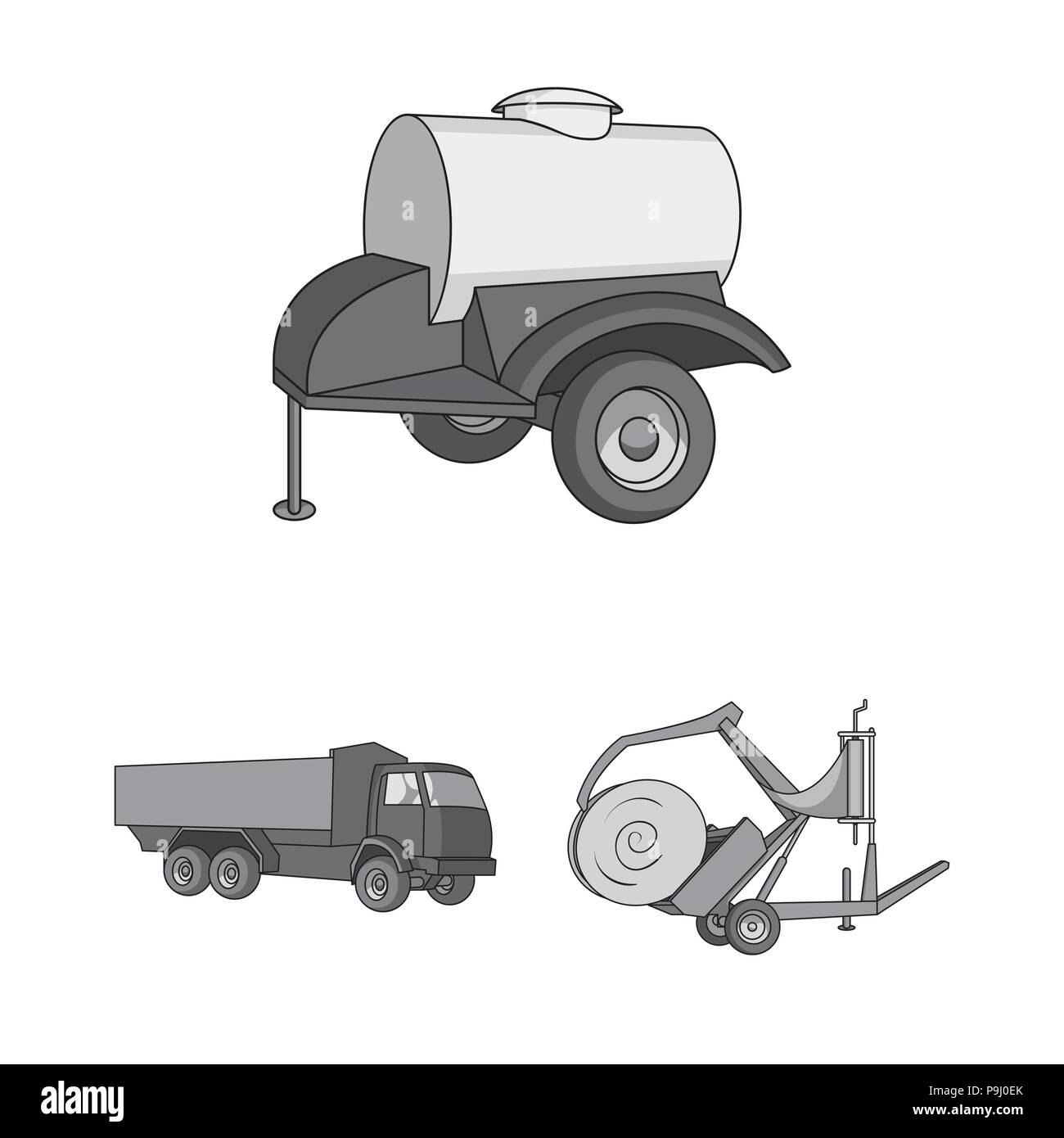 Agricultural Machinery Monochrome Icons In Set Collection For Design