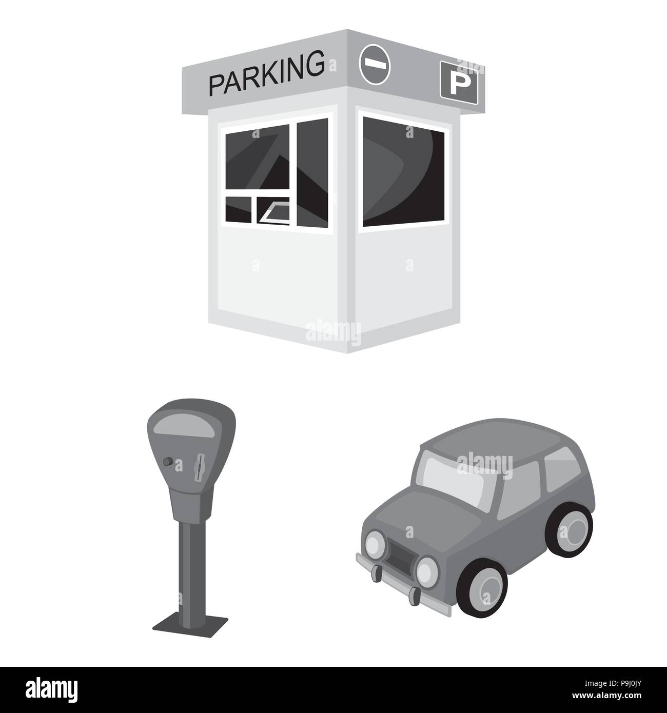 Parking For Cars Monochrome Icons In Set Collection For Design