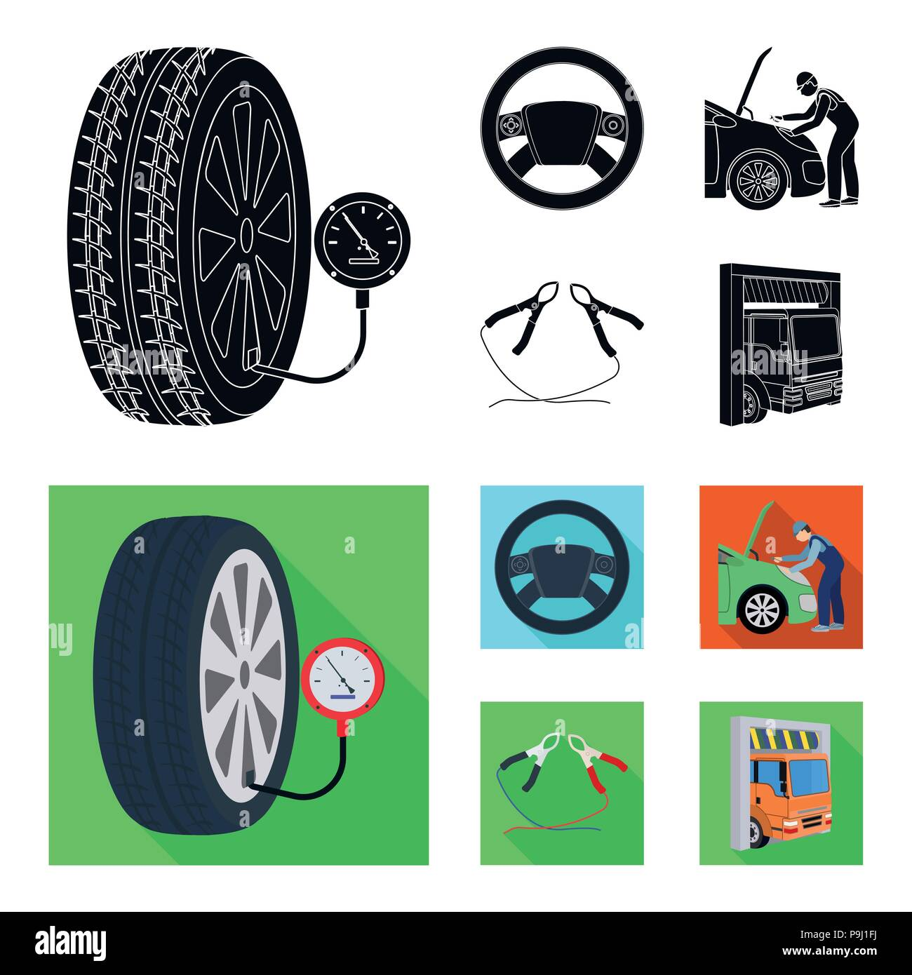 Engine Adjustment Steering Wheel Clamp And Wheel Black Flat Icons