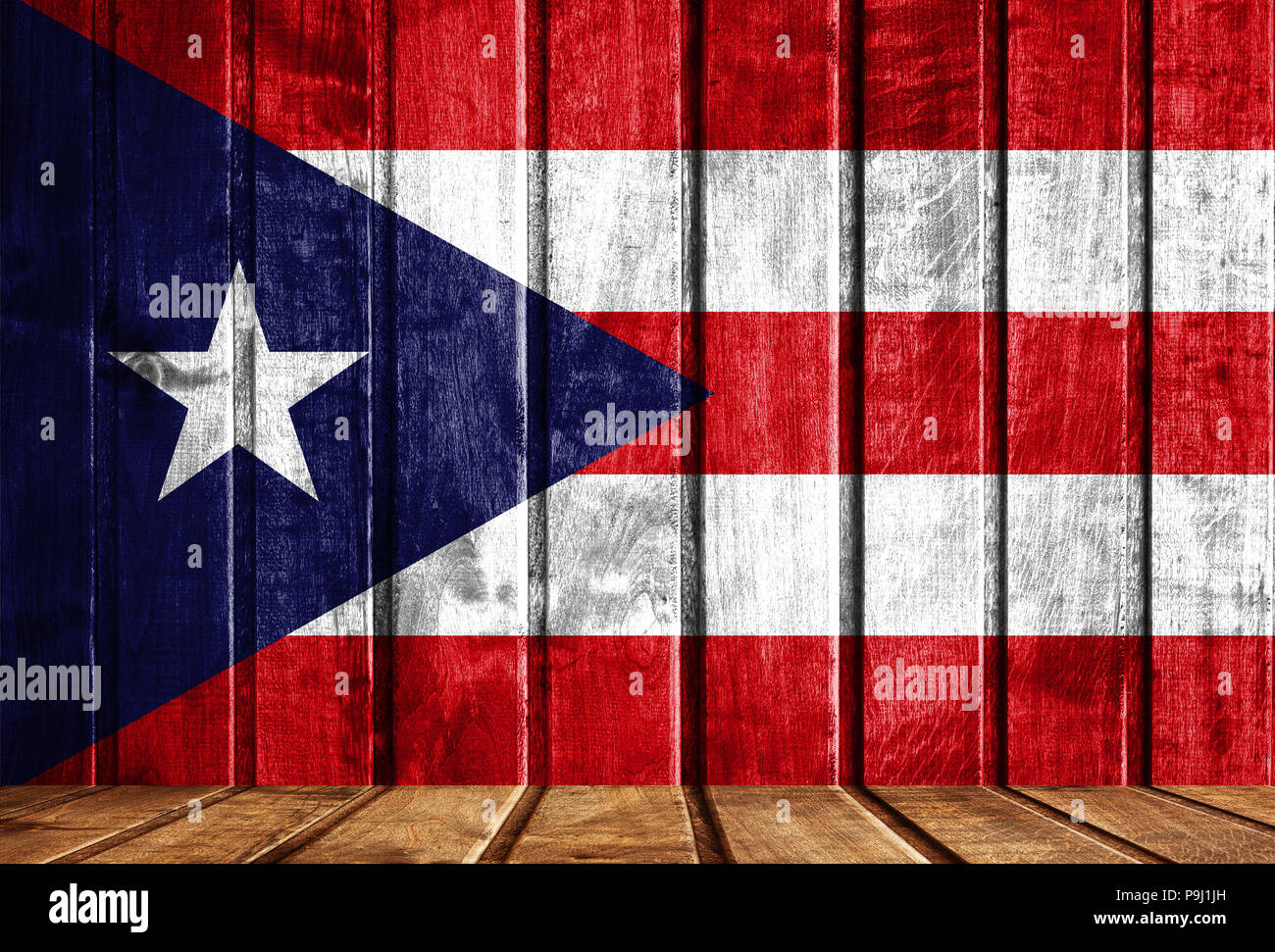 Wooden Background With A Flag Of Puerto Rico There Is A Place For