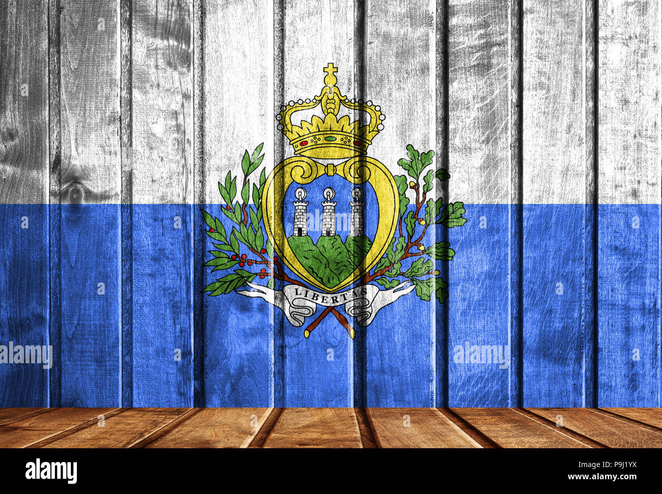 Wooden background with a flag of San marino. - Stock Image