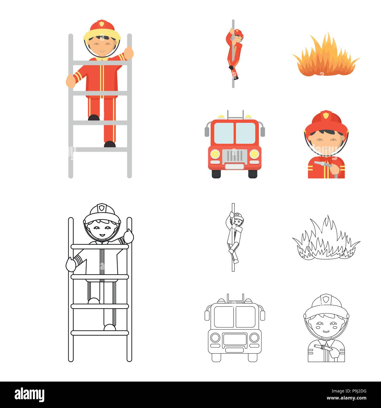 Fireman Flame Fire Truck Department Set Collection Icons In Cartoon Outline Style Vector Symbol Stock Illustration