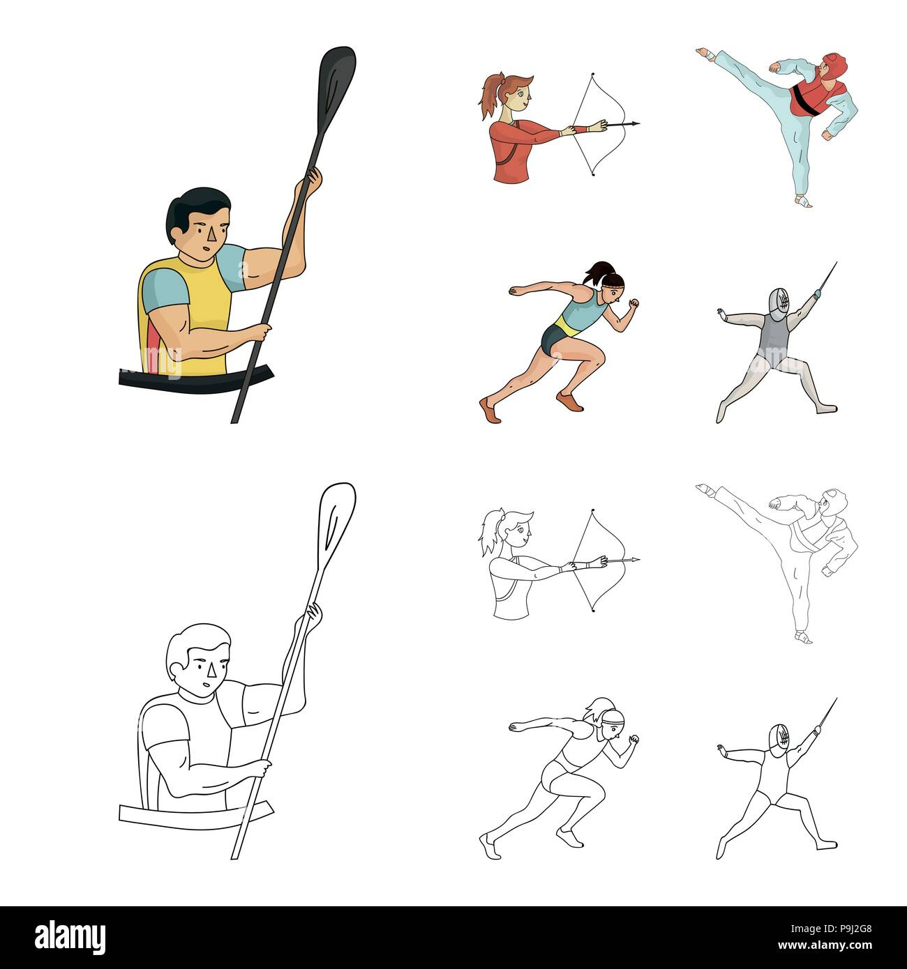 Archery, karate, running, fencing. Olympic sport set collection icons in cartoon,outline style vector symbol stock illustration . - Stock Vector