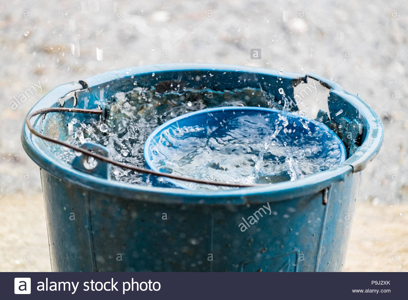 pail water dipper blue old rain water reserve stock photo 212453771