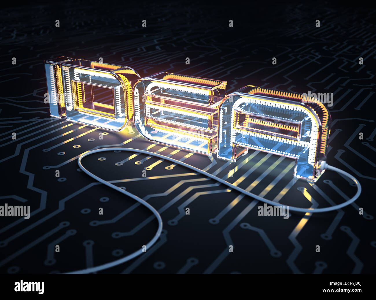 Text Idea Made As An Electric Lamp On Printed Circuit Board 3d Designing A And Getting It Illustration