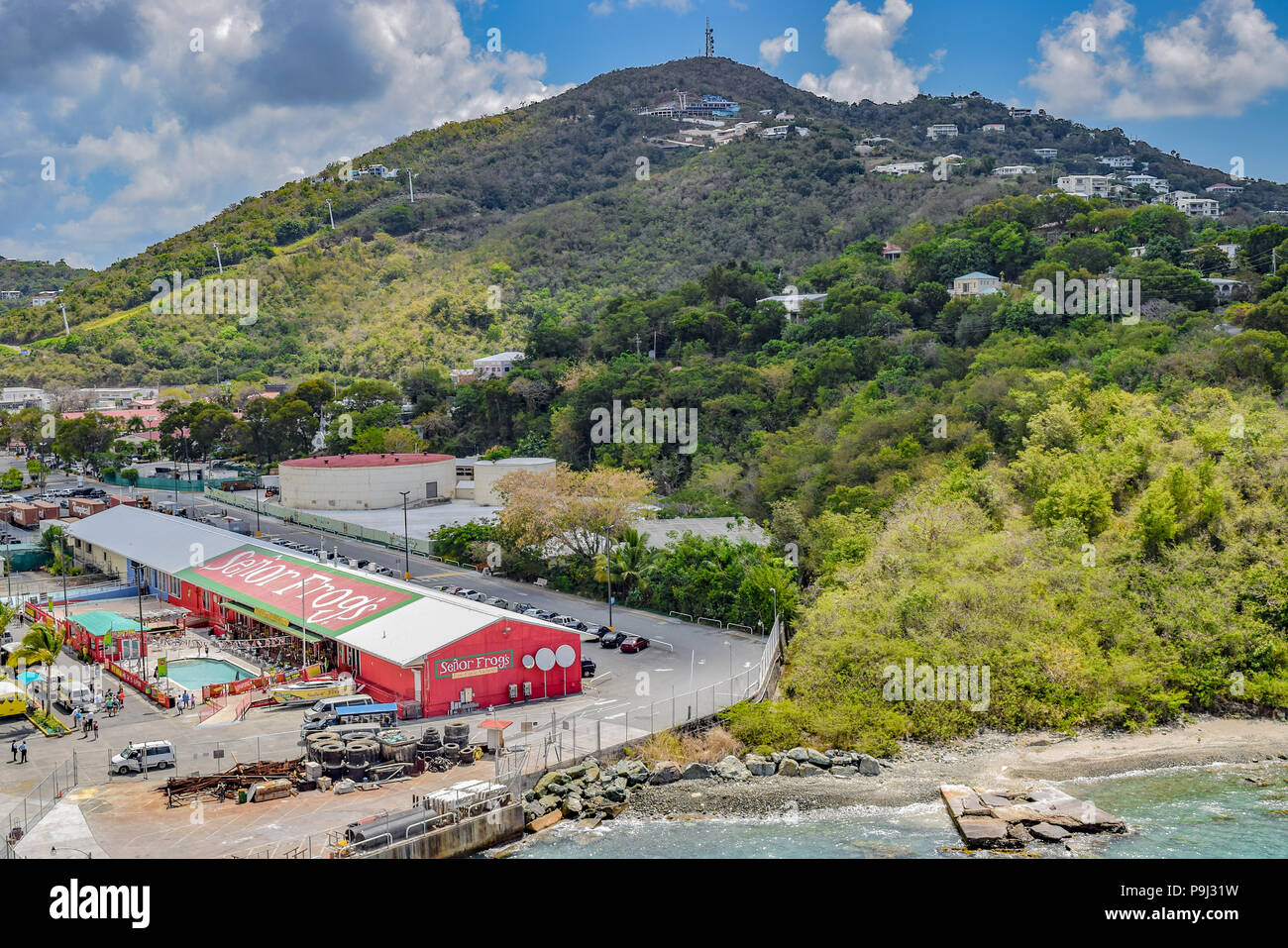 Saint Thomas, US Virgin Islands - April 01 2014: Sky view/ Drone view over Señor Frogs and nearby landscapes in Saint Thomas, US Virgin Islands - Stock Image