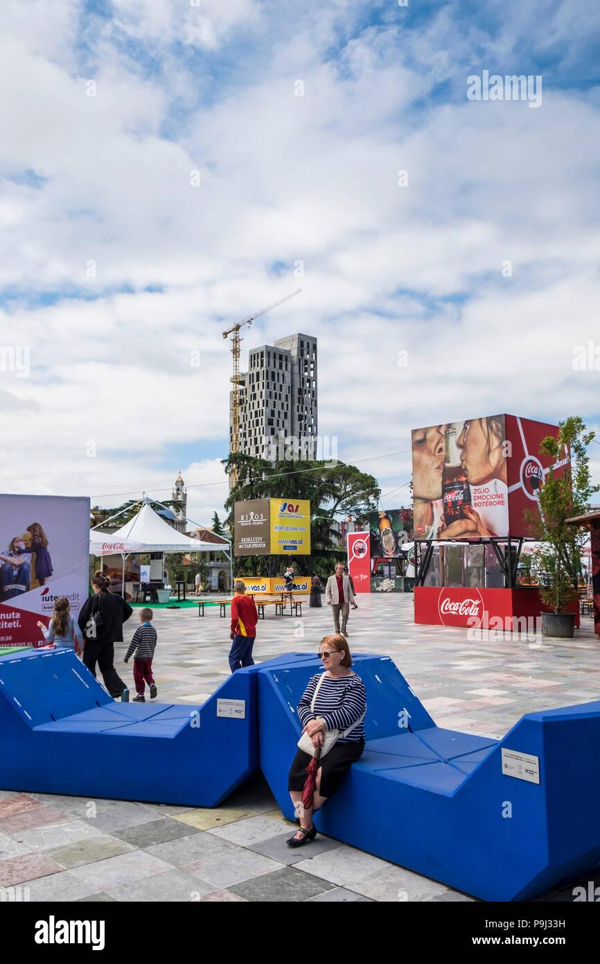 Albania, Tirana, Skanderberg main square, daily life - Stock Image