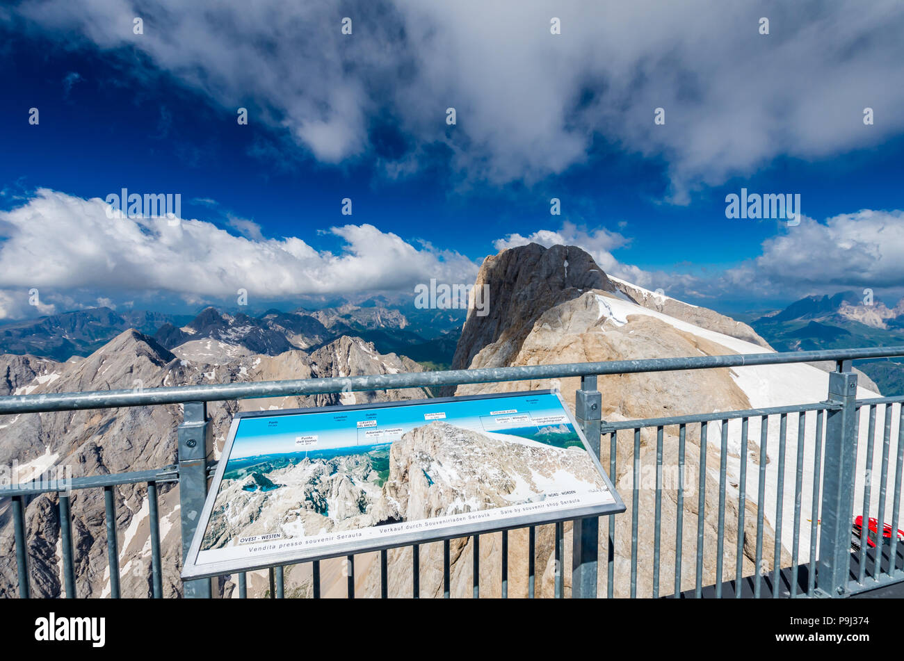 Marmolada massif, Dolomiti, Itay. Spectacular view over the Punta Rocca and other peaks in Dolomites mountains - Stock Image