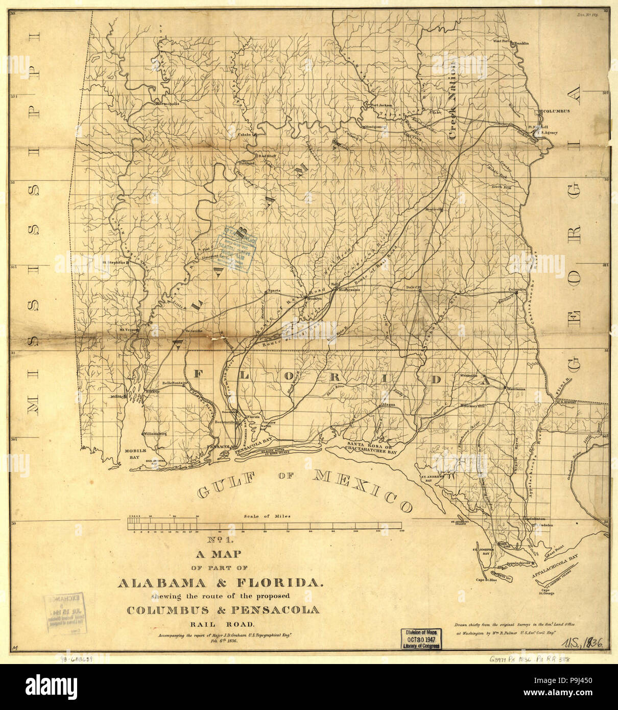 A map of part of Alabama & Florida, showing the route of the ...