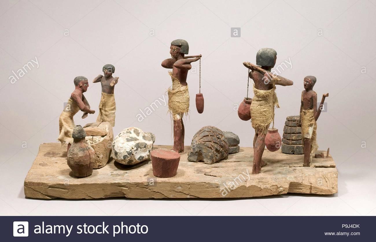 Model farmyard and butchery, Middle Kingdom, Dynasty 11–mid 12, ca. 2030–1850 B.C., From Egypt, Middle Egypt, Asyut (Lykopolis), Khashaba/Kamal excavations, 1910–1914, Wood, paint. - Stock Image