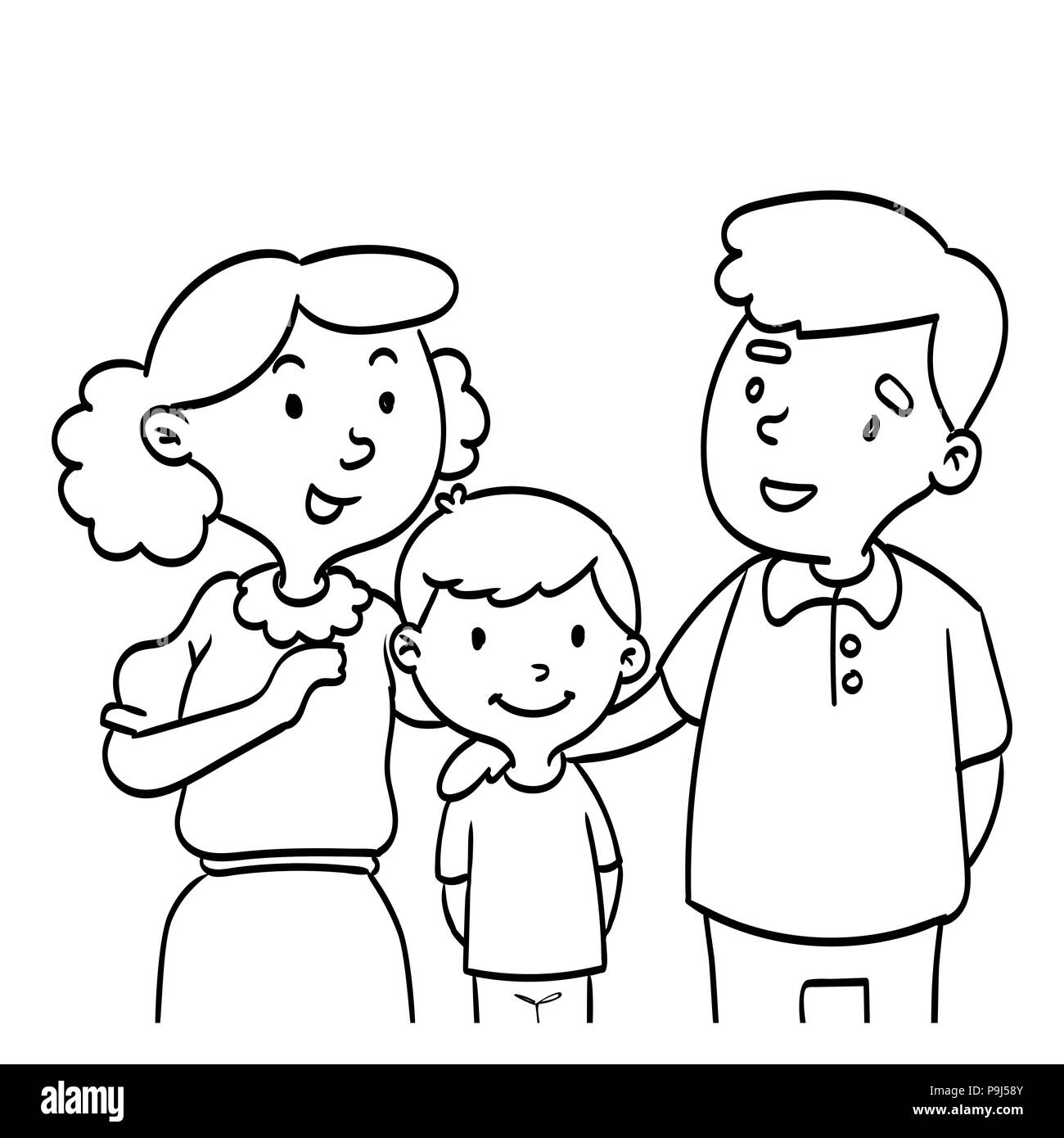Hand drawn of Happy Family. Coloring book educational for kids ...
