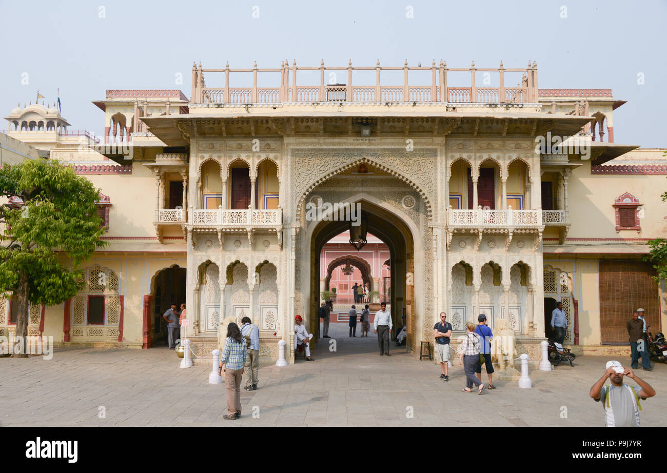 City Palace and Chandra Mahal building in Jaipur Rajasthan India - Stock Image