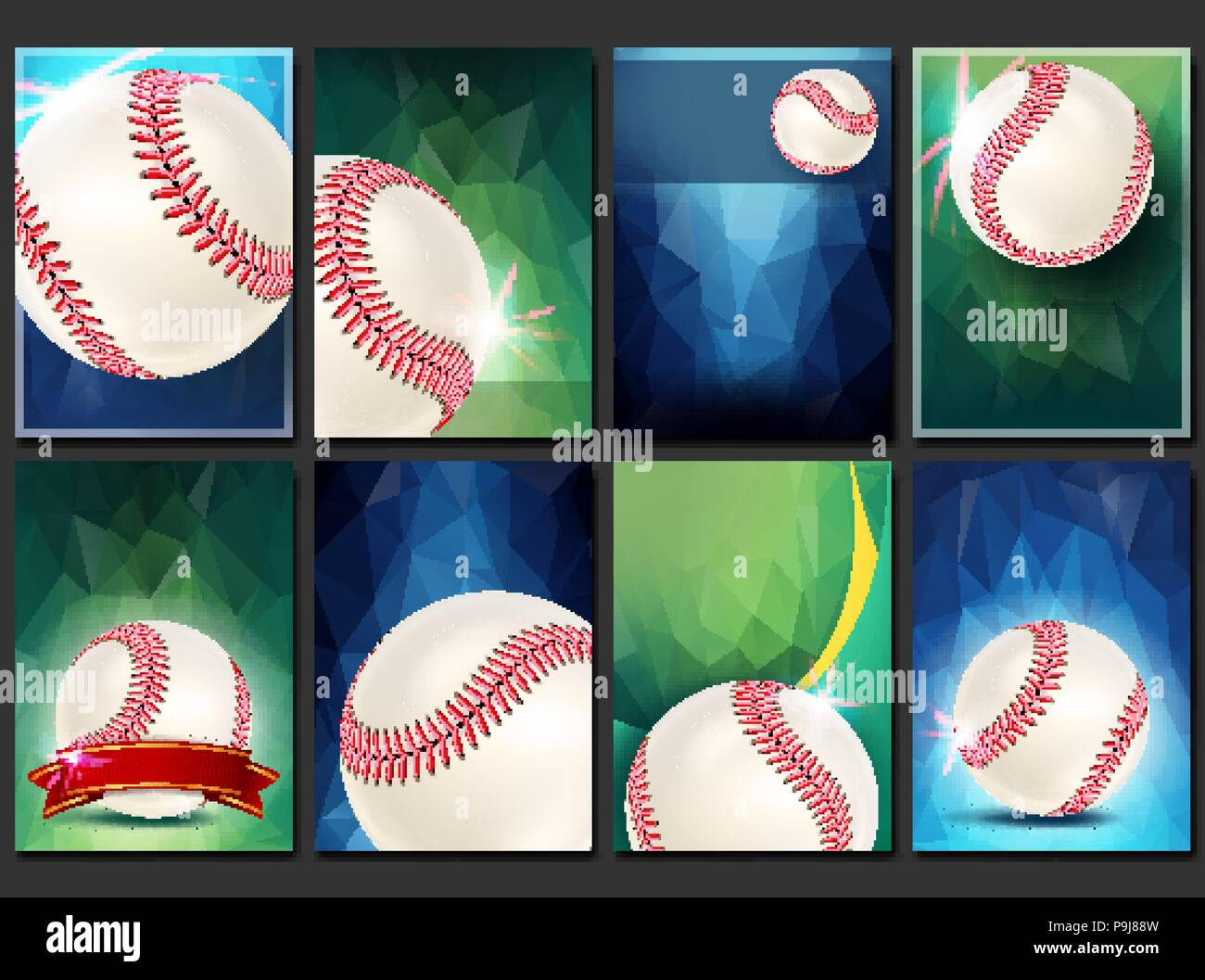 Baseball Poster Set Vector Empty Template For Design Promotion