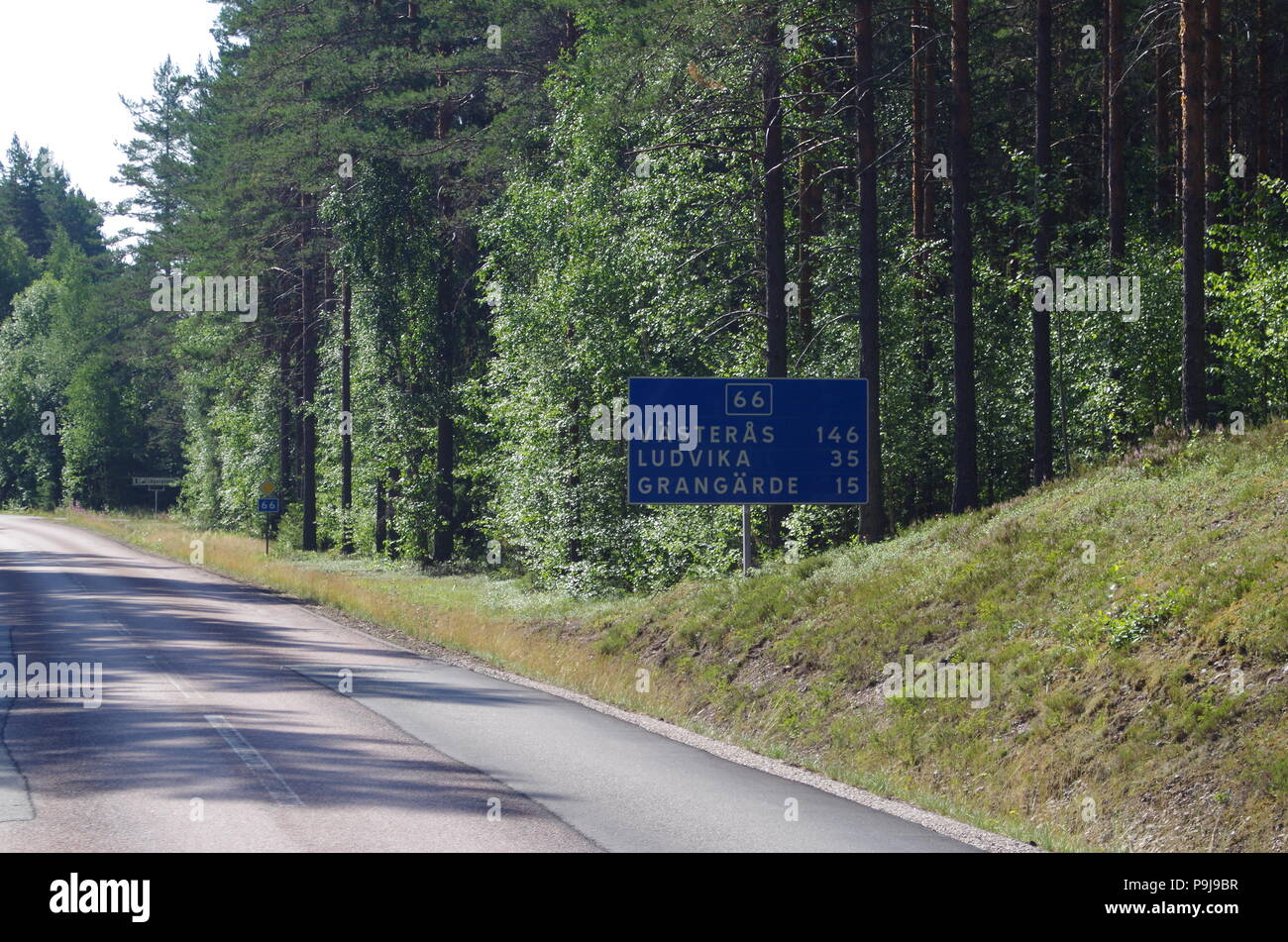 Road signs on Route 66 in the province of Dalarna in Sweden - Stock Image