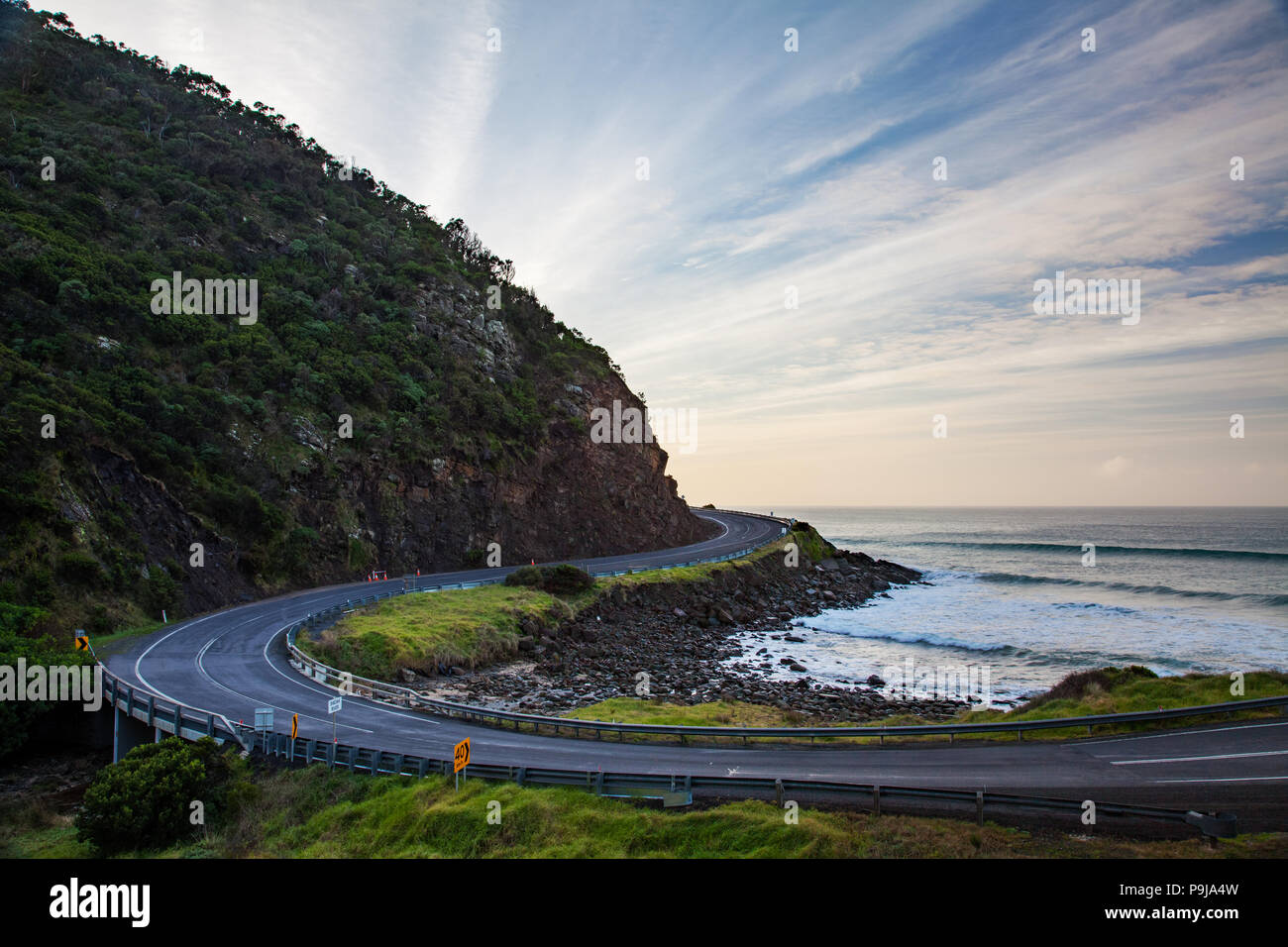 The iconic sweeping roads of the Great Ocean Road Victoria Australia Stock Photo