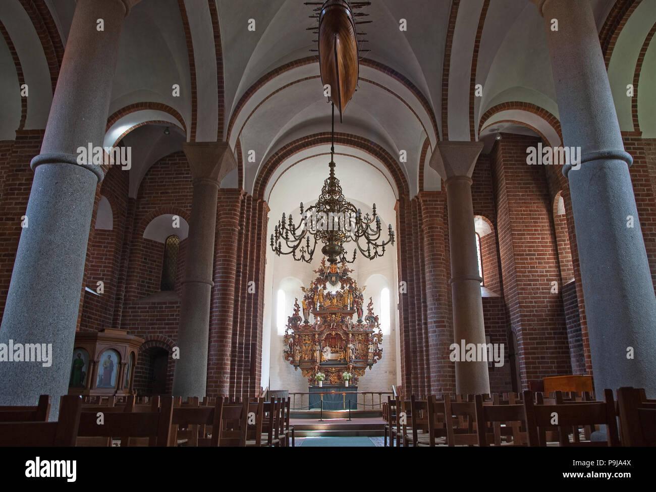 Inside Our Lady church in Kalundborg, Denmark. - Stock Image