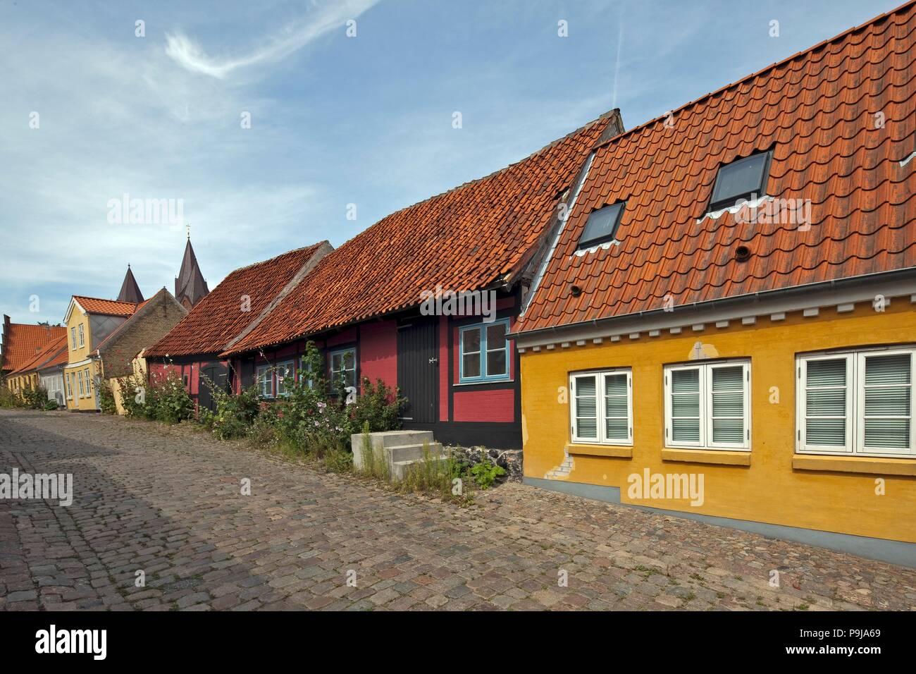 Wooden houses by old street in Kalundborg, Denmark - Stock Image