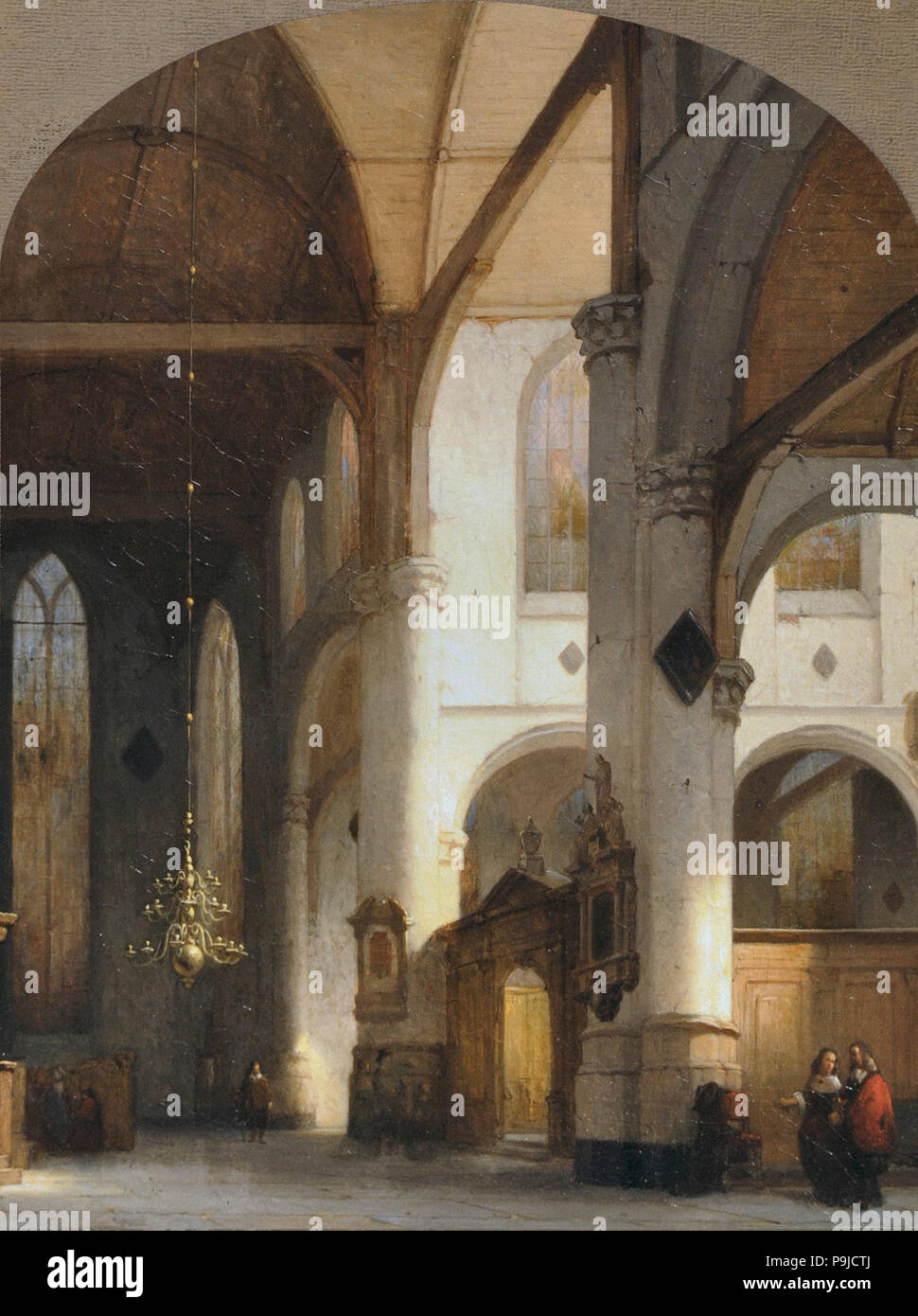 Schenkel Jan Jacob - Interieur Van De Sint-Janskerk in Gouda Stock ...