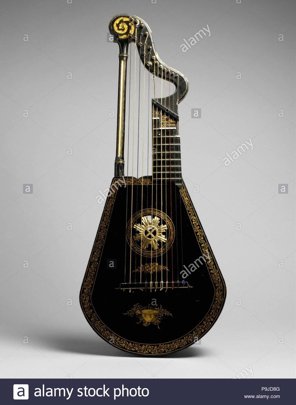 Harp Lute, ca  1815, London, England, United Kingdom, British, Wood