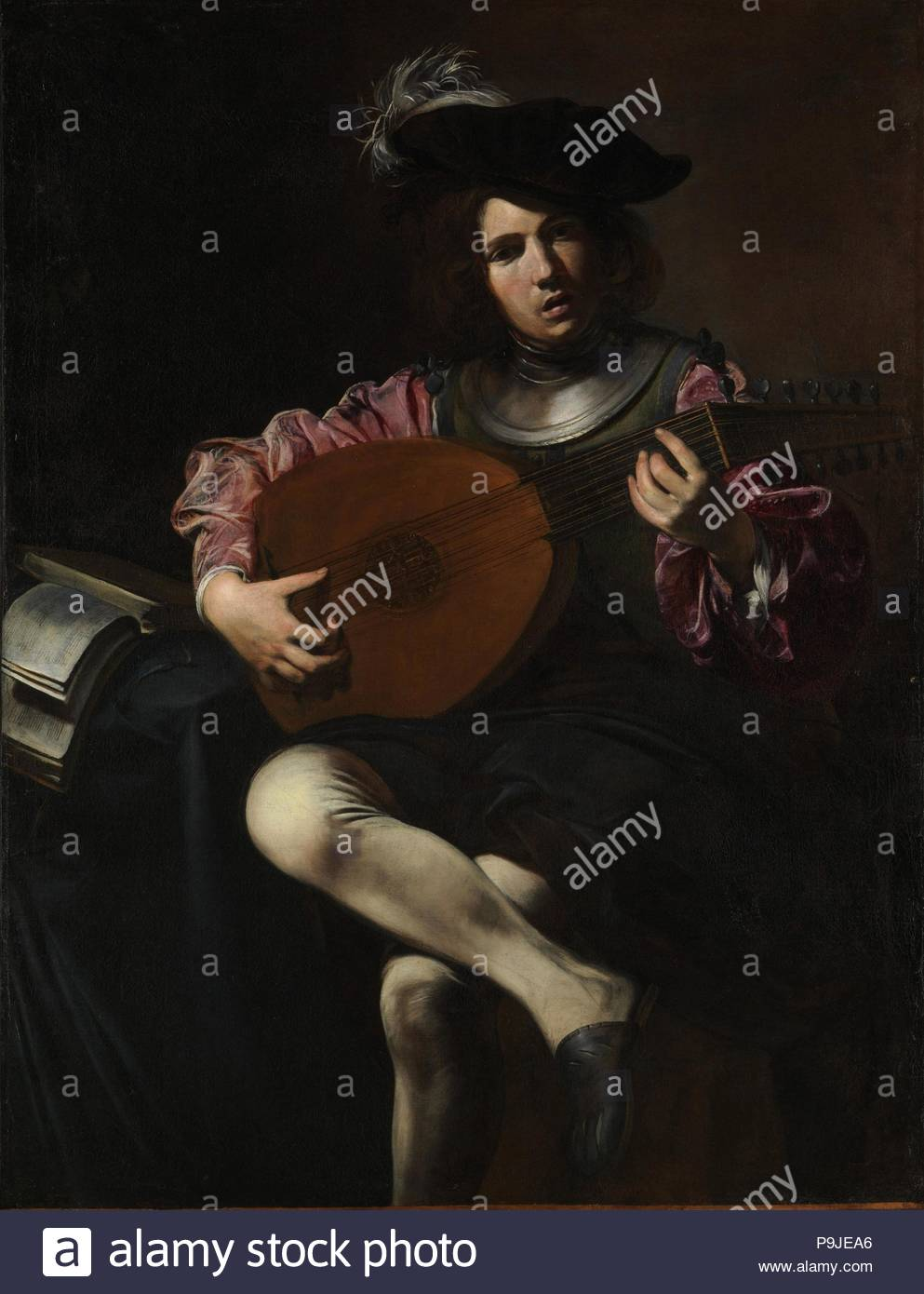 Lute Player, ca. 1625–26, Oil on canvas, 50 1/2 x 39 in. (128.3 x 99.1 cm), Paintings, Valentin de Boulogne (French, Coulommiers-en-Brie 1591–1632 Rome), The greatest French follower of Caravaggio, Valentin was one of the outstanding artists in seventeenth-century Rome. His most frequent subjects are scenes of merriment, with music-making, drinking, and fortune-telling. - Stock Image