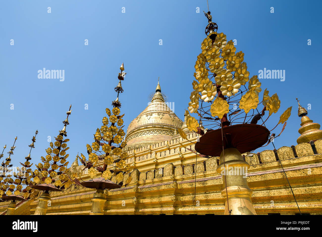 The Shwezigon Pagoda or Shwezigon Paya is a Buddhist temple located in Nyaung-U, a town in Myanmar. - Stock Image