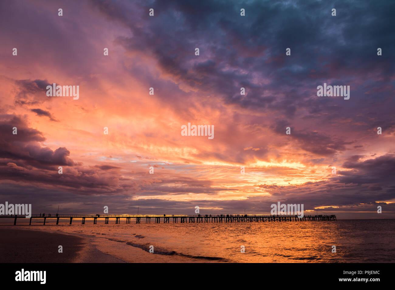 Sunset at the popular Semaphore Jetty, near Adelaide, South Australia. - Stock Image