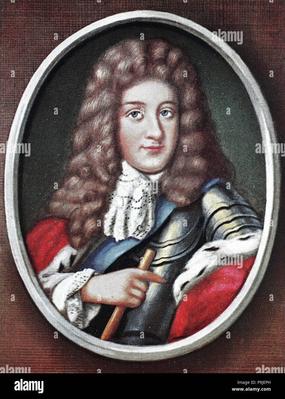 Frederick I, Friedrich I., 11 July 1657 – 25 February 1713, of the Hohenzollern dynasty, was, as Frederick III, Elector of Brandenburg, 1688–1713, and Duke of Prussia in personal union, Brandenburg-Prussia,, digital improved reproduction of an original print from the year 1900 - Stock Image