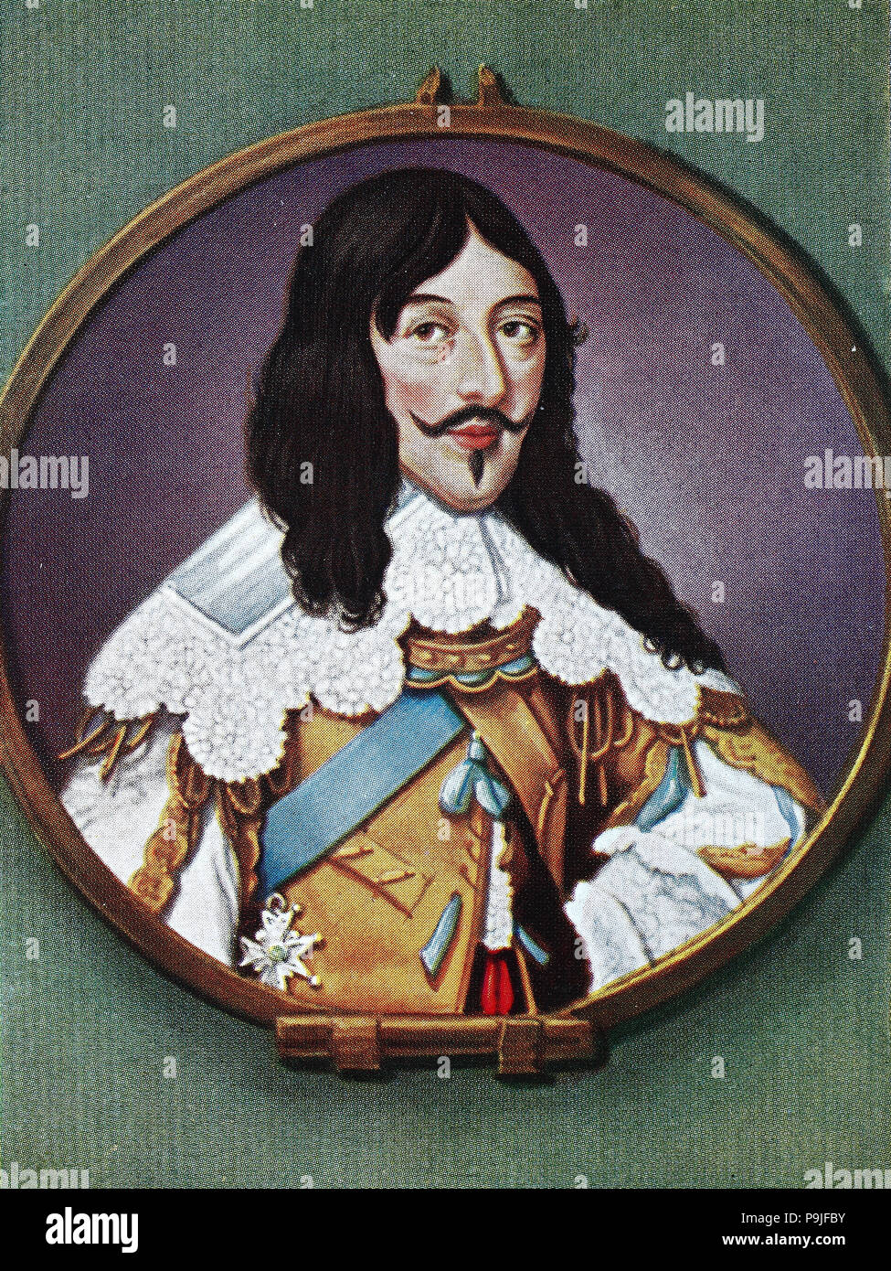 Louis XIII, 27 September 1601 – 14 May 1643, was a monarch of the House of Bourbon who ruled as King of France from 1610 to 1643 and King of Navarre, as Louis II, from 1610 to 1620, when the crown of Navarre was merged with the French crown, digital improved reproduction of an original print from the year 1900 - Stock Image