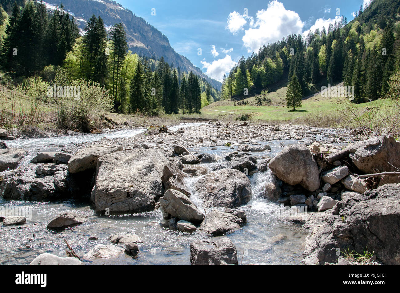 Wild river in the Rappenalptal near Bad Hindelang in the Allgäu Stock Photo