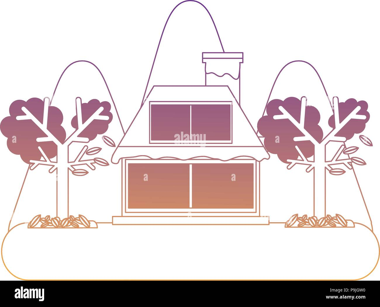 cabin house and dry trees icon over white background, vector illustration - Stock Vector