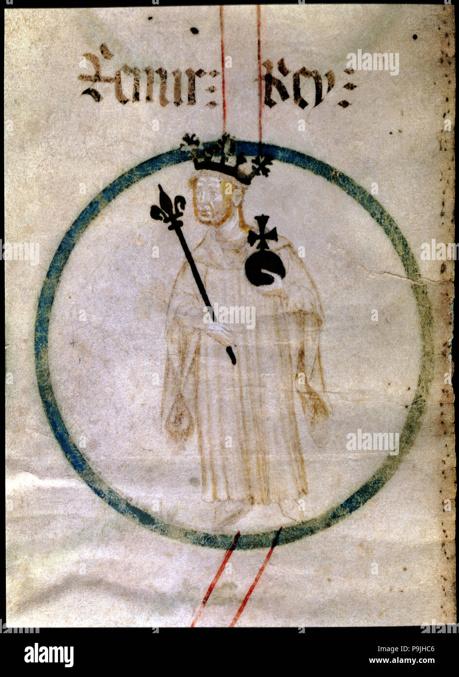 Ramiro II 'The Monk' (1080-1157), king of Aragón (1134-1137), count of Ribagorza and Sobrarbe, miniature in a 15th century parchment entitled 'Ge - Stock Image