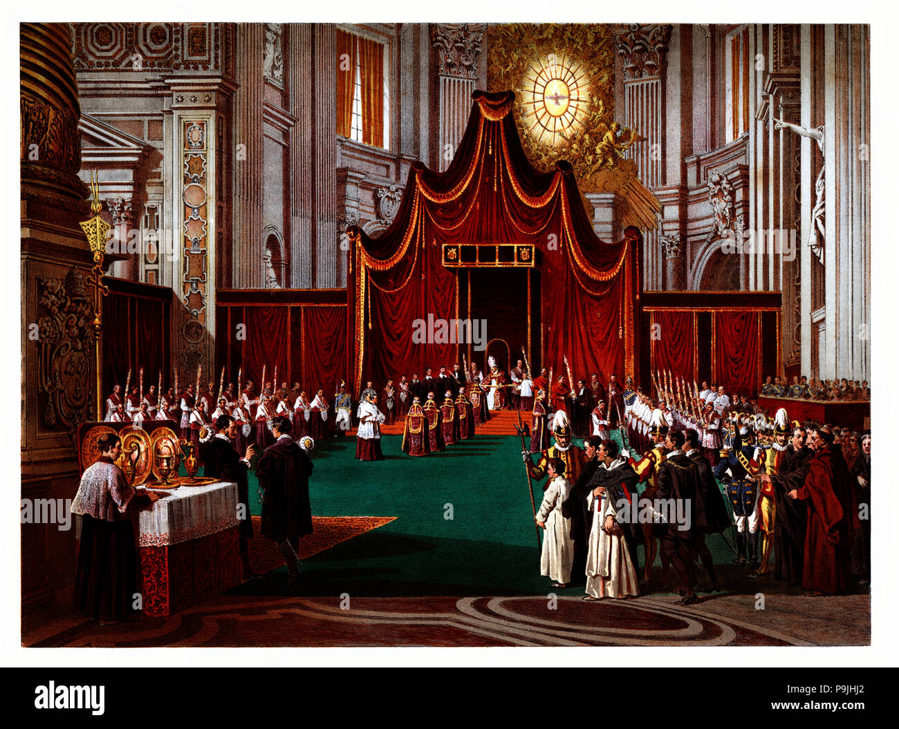 Pontifical ceremonies. Blessing of the Palm Sunday. Color engraving from 1871. - Stock Image