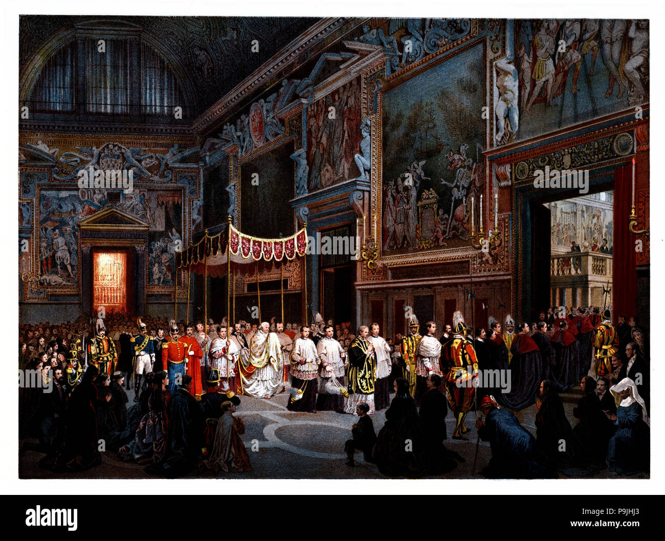 Pontifical ceremonies. Procession of the Blessed Sacrament to the Sistine Chapel. Color engraving from 1871. - Stock Image