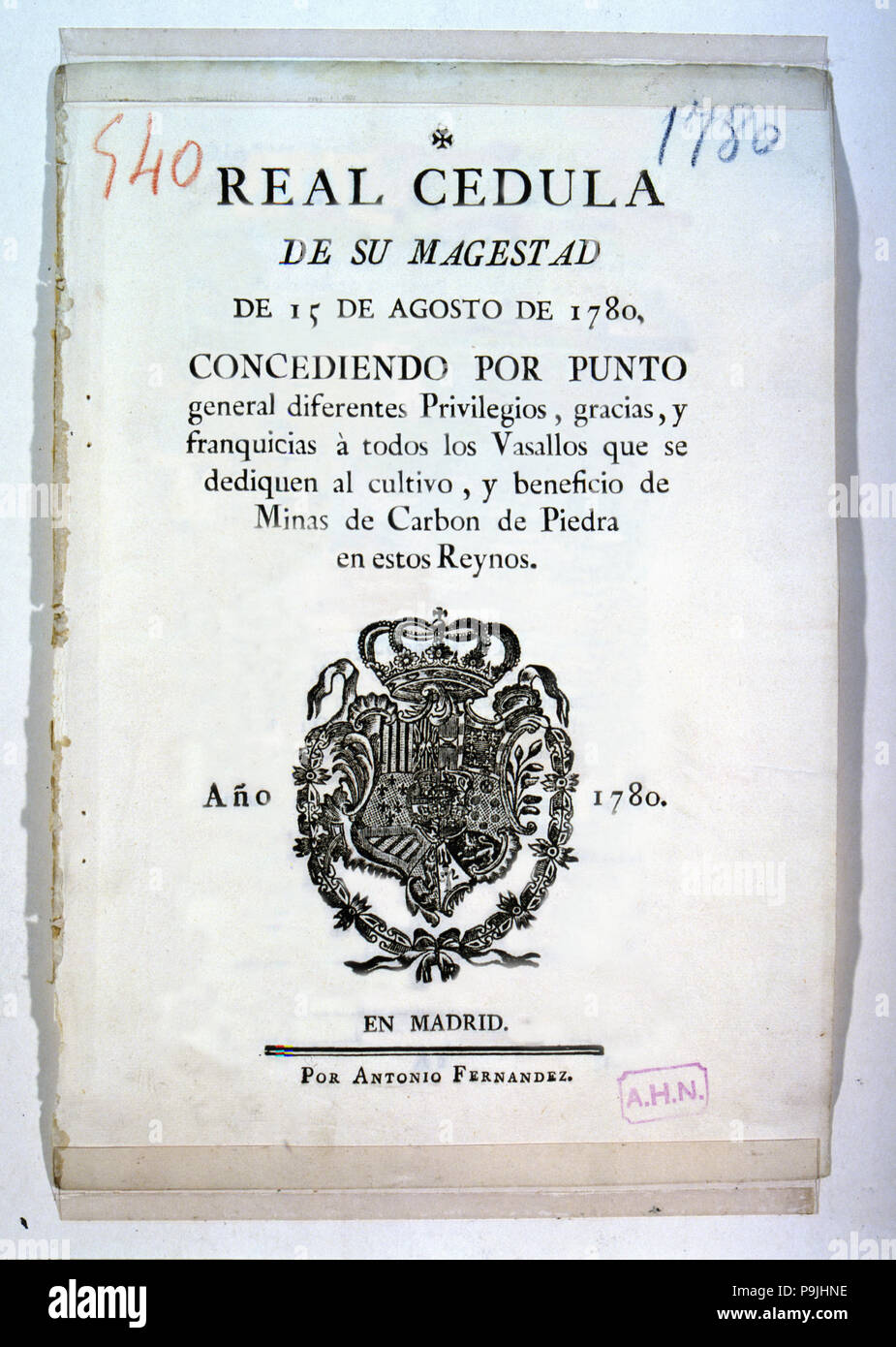 Royal Proclamation of King Charles III, 1780, privileges of the Crown to the vassals engaged in the farming and coal mining, developed by Antonio Fern - Stock Image