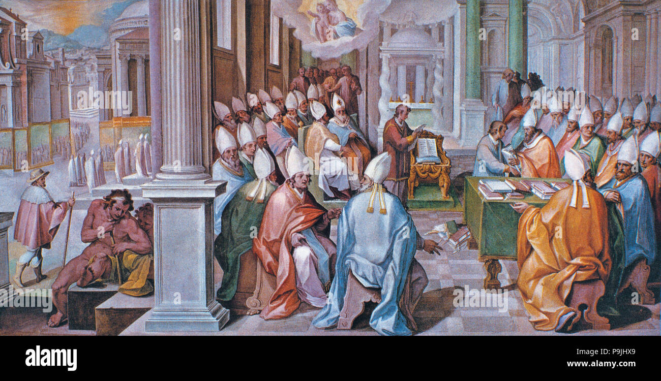 Council of Ephesus, held in 431 under Pope Celestine I and the reign of Theodosius the Younger, fresco Painting, 16th century. - Stock Image