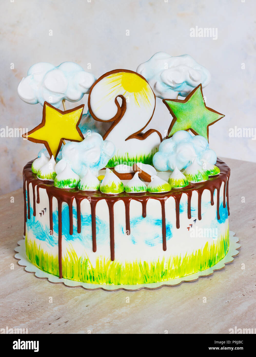 Tremendous Childrens Bright Modern Cake With Meringue And Gingerbread With Funny Birthday Cards Online Hetedamsfinfo