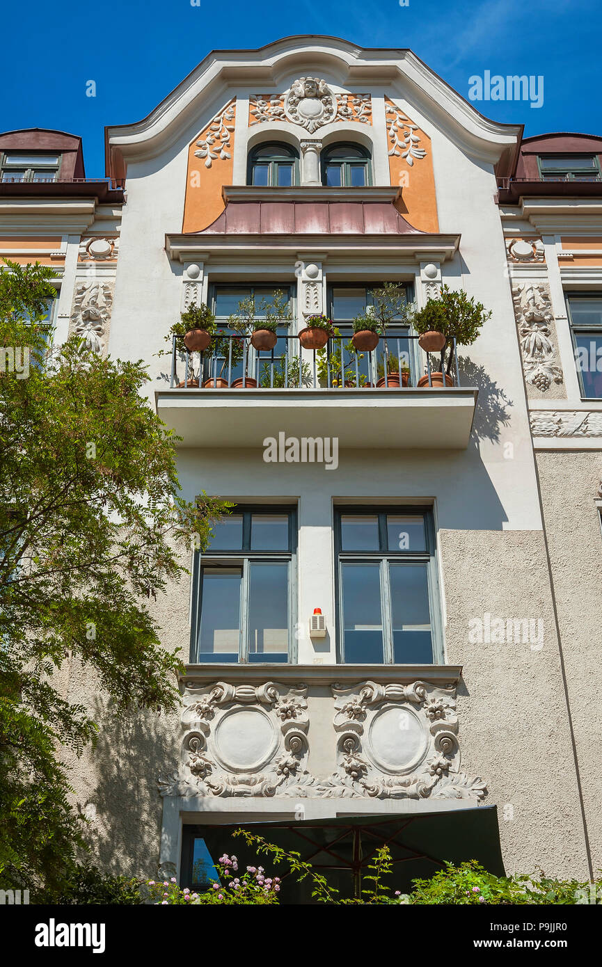 Baroque facade with green balcony, Schwabing, Munich, Upper Bavaria, Bavaria, Germany - Stock Image